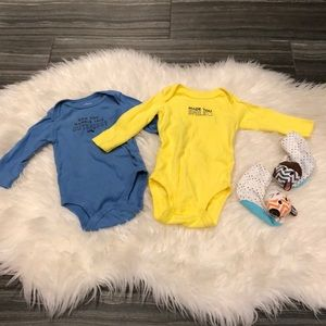 Bundle of long sleeve onesies & rattle booties